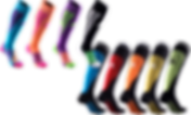 2 sets of compression socks.  The top 4 are in fluorescent style contrasting colors, and teh bottom 5 are in primary colors with black and white accents.
