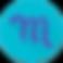 Mood Log Logo, a purple cursive m on a teal circular background