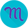 Mood Log Logo, a purple cursive m on a teal circular background