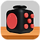 Fidget Cube Logo, a black fidget cube with red buttons resting on a wooden desk