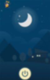 Screenshot of Blue Light Filter App, a dark blue screen with illustrated nightscape. Towards the middle top is a white version of the App's logo. In the top left corner is a yellow star shape with smaller stars above it.  At the bottom of the screen is a pale yellow power button.