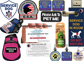 "5 Embroidered patches for service vests.  They read, ""Service Dog,"" ""Emotional Support Animal,""""Diabetic Alert Dog,"" ""Seizure Alert Dog,"" and ""Please ask to Pet Me,"" There two service dog vests, one pink and one blue with various service dog patches on them, a hand holds an ""access required"" card laying out service animal access requirements, a doorknob hanger reading, ""Service Dog in Room, do not disturb,"" and 3 different styles of tags with various service and guide dog labels printed on them."