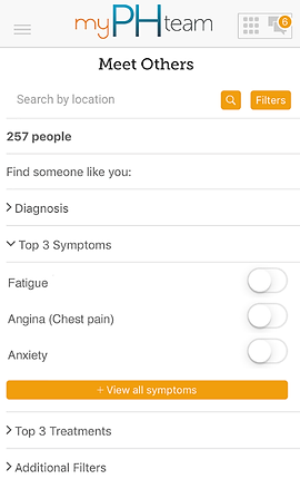 """Screenshot of My PH Team App, a white screen with """"My PH Team"""" at the top and black text below reading, """"Meet Others"""".  There is a search by location line, and below several drop-down categories to explore including, """"Find Someone like you:"""" """"Diagnosis,"""" """"Top 3 Symptoms, Fatigue, Angina (chest pain), Anxiety."""" An orange button reads, """"View all symptoms"""", then more black text reading, """"Top 3 Treatments"""" and """"Additional Filters."""""""