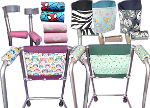 A set of forearm crutches with pink padding on the handles, 2 sets of crutch handle pads, one spiderman print and one with unicors.  3 crutches with matching pockets and handle pads in various patterns. 2 walker frames with matching bags and handle pads one owl printed and one with small flowers.