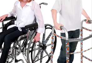 A wheelchair decorated with zebra striped patterns and a walker decorated with sports equipment