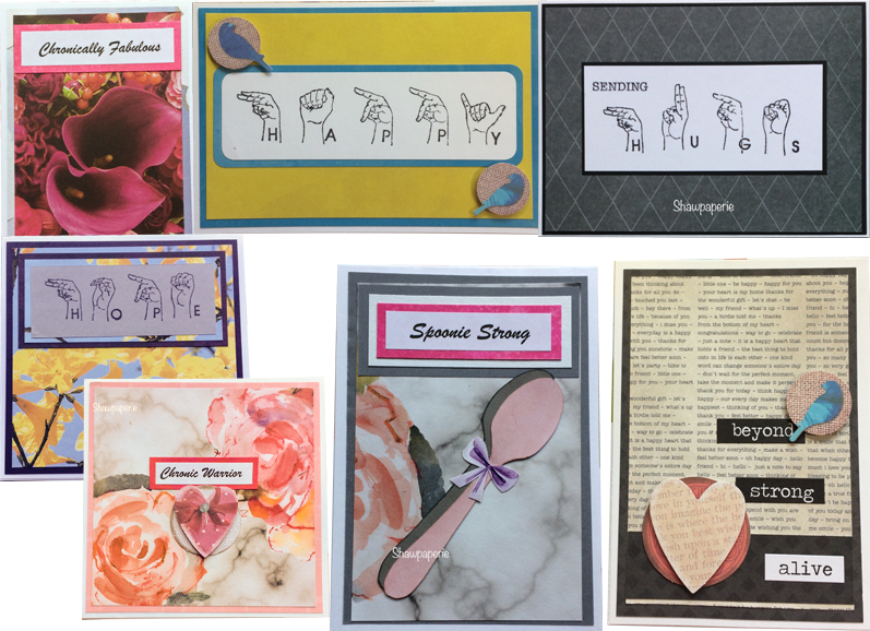"""7 handmade greeting cards. 3 feature simple line drawings of hands spelling out ASL letters. One reads, """"Happy"""", another """"HUGS,"""" and the third, """"HOPE"""". The other four cards eature flowers, heart and spoons with messages for people with chronic illnesses"""