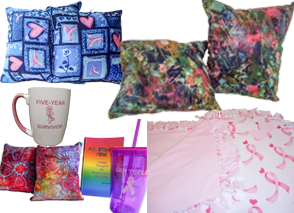 "2 sets of small square pillows, one in a blue pattern with pink hearts, and the oter in an abstract pattern with several color, a white mug with pink handle- it reads, ""Five-Year Survivr"", a 3rd set of small pillows in a rainbow batik pattern, a rainbow notebook, a purple cup with straw that has an awreness ribbon on front, and a soft 2-sided blanke with pink ribbons on one side and a soft pink fabric on the other"