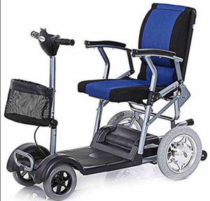 A power chair with long base, steering bars, basket on front and a bright blue and black cushioned seat.