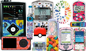 Various diabetic meters and pods decorated with high-quality decals in a wide variety of patterns and prints including a starry-night style decal, bugs, gummy bears, florals and more.