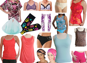 A wide range of clothing and bras/underwear.  Fun and flirty styles as well as practical.  Hair wraps for chemo patients, and breast form inserts.