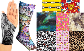 a hand wearing a thumb-splint brace covered with photos of zebras, a cast-clad foot covered in a graphiti style decoration, and 8 fabric pattern swatches.