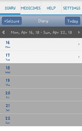 """Screenshot of EpiDiary App, a white screen with tabs at the top for, """"Diary,"""" """"Medicines,"""" """"Help,"""" and """"Settings.""""  The Diary tab is selected with a blue underline.  There is a blue bar with a button for """"+Seizure"""" and """"Today"""".  Below is a place to select a specific week, and below are white and gray sections to add information to each day within that week."""