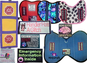 "A yellow wrap with purple borders to drape over a dog- 2 of the 3 panels have red stop sign patches, 3 standard shaped service dog vests in different sizes and colors showing different patch options.  4 embroidered patches, one with a Lilo and Stitch character reading, ""Handler Has a Glitch,"" One reading, ""In case of emegency, do not separate service dog from handler,"" another reading, ""Emergency information inside,"" a 3rd which reads, ""Traumatic brain injury service dog"" and th fina patch reading, ""seizure response service dog."""