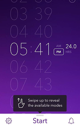 """Screenshot of Pillow App, a purple screen with alarm time options from top to bottom.  At the very bottom is a white menu bar with a settings icon, alarm icon and the word """"start""""  A black button above it reads, """"Swipe to reveal available modes."""""""