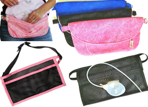 A white peson with a pink pouch round her waist, she's reaching in to lift out a drain, a small bunch of 3 pouches- pink, black and blue, an 2 mesh pouches for drains, one black with pink border and one flat black