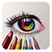 Coloring Book for Adults - Mandalas Logo, a colored-pencil drawn sketch of an eye with several colored pencils below it