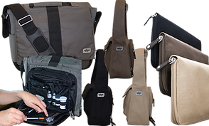 3 Styles of diabetic cases in gray, brown, and black.  One is amessenger style bag, below which is an image of the same with one pocket open to show supplies.  3 Shoulder bags and 3 zippered large wallet style cases.