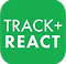 """Track & React Logo, a green rounded-edge square with white print reading """"Track + React"""""""