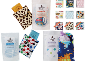 fabric pouches with ice and hot packs in them and various fabric swatches