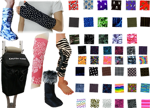Various cast and braces covered in different patterned fabrics, a boot topped with furr, a crutch with a special bag attached, and many fabric swatches of different colors and patterns.