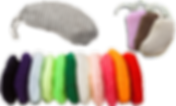 A hearing aid receiver wrapped in a knitted gray cover.  A set of 3 receivers in the same fabric in pink, brown, and off-white.  And a row of covers lined up in a rainbow of colors.