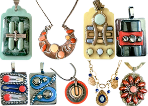 2 rows of handmade pendants. Each features designs using actual medications cast in resin.