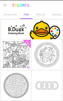 """Screenshot of ColorFil App, a white screen with """"COLORFIL"""" at the top in different colored letters.  A menu bar shows gray text options for """"My Gallery"""" """"Popular,"""" and """"Message,"""" the """"FREE"""" option is selected in purple text.  A rectangular banner with a yellow ducky holding a painters pallet reads, """"B. Duck ™ Coloring Book"""".  Below are 4 square previews of available coloring pages including a cat at a birthday party, a circular floral design, a circular maze-type design, and 4 linked rings."""
