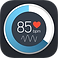 Instant Heart Rate Logo, a circular border that is part blue and part white, in the cente on a black background a hart rate readig that says 85 with a small red heart and a heart-beat line
