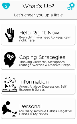 "Screenshot of What's Up? App, a white screen with a header that reads, ""What's Up? Let's cheer you up a little.""  Below are 4 options, ""Help Right Now- everything you need to keep calm right here."" ""Coping Strategies- Thinking patterns, metaphors, manage worries & positive steps,"" ""Information- Anger, anxiety, depression, self esteem & stress,"" and ""Personal- My diary, positive habits, negative habits & my notes."""