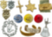 Various pieces of gold and silver jewelry featuring ASL signs for love and friendship, a cross and star of david are featured a well as 3 drawer pulls with asl on them and a siver bell