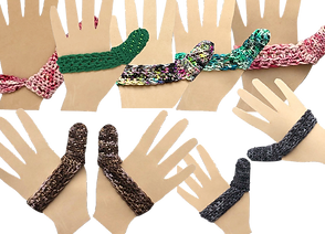4 single hand forms with kitted covers that strech across the palm and over the thumb in various colors. There are 2 sets of matching hand forms wth coordinated knitted covers.