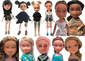 12 Repurposed dolls (mostly from the Bratz line). Each has either facial markings or body modifications to represent a variety of conditions includig limb amputation, port wine stains, facial scarring, albinism, rosacea, heterochromea, vitiligo and more.