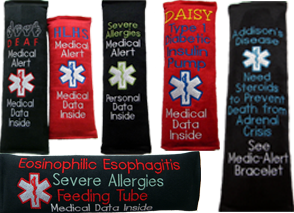 Seat Belt Cushions that are embroidered with vital medical information