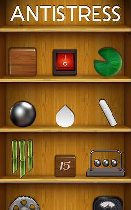 "Screenshot of AntiStress App, a wooden bookshelf with the word ""ANTISTRESS"" in white on the top shelf, a shelf with a wooden cube, red on/off switch, and a green lilypad, a shelf with a magnetic ball, a white teardrop and a piece of white chalk, a shelf with green bamboo reeds, a wooden block with the number 15 on it, and a desk toy 3-ball clacker, and a partial view of 2 other unidentifiable toys."