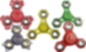 5 3d-printed fidget spinners, with with dog head shaped ends, 1 with cat head shaped ends, and 3 different hexagonal designs.  The colors include reds, blue,  yellow and green