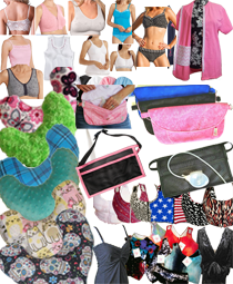 Image includes many bras, pillows, drain pouches and other items designed for post-mastecomy car.
