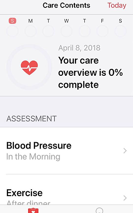 """Screenshot of POTS Tracker App, a white screen with black text at the top reading, """"Care Contents"""" and in red text, """"Today.""""  Below are icons for days fo the week and centrally gray text reading, """"April 8, 2018"""".  There is a red heart with black text next to it that says, """"Your care overview is 0% complete."""" In the bottom half of the screen is an """"assessment"""" section with listings for """"Blood Pressure"""" and """"Exercise."""""""