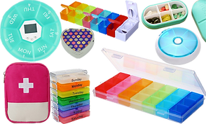 Pill cases and organizers in a variety of shapes, styles and colors.  Images include rainbow colored sorters, a round sorter with a timer, a fabric case with a first-aid style cross on it, a pill shaped sorter and a metal heart shaped tin.