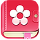 Period Tracker Pro Logo, a pink diary with white flower on the cover