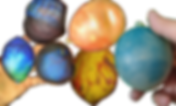 6 different ballon-based stress balls of varying textures and colors.
