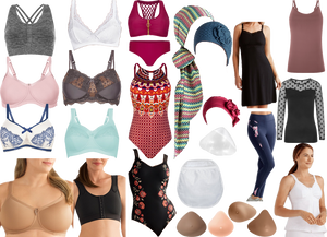 6 bras of varying styles and colors, 2 people of differing sizes- one in a bra and one in a front-closing post-surgical garment. a Row of 3 different swimsuit styles, 3 different styles of head wraps,a variety of breast forms, a drain bag, various tops, bottoms, and nightgowns for post-surgical wear.