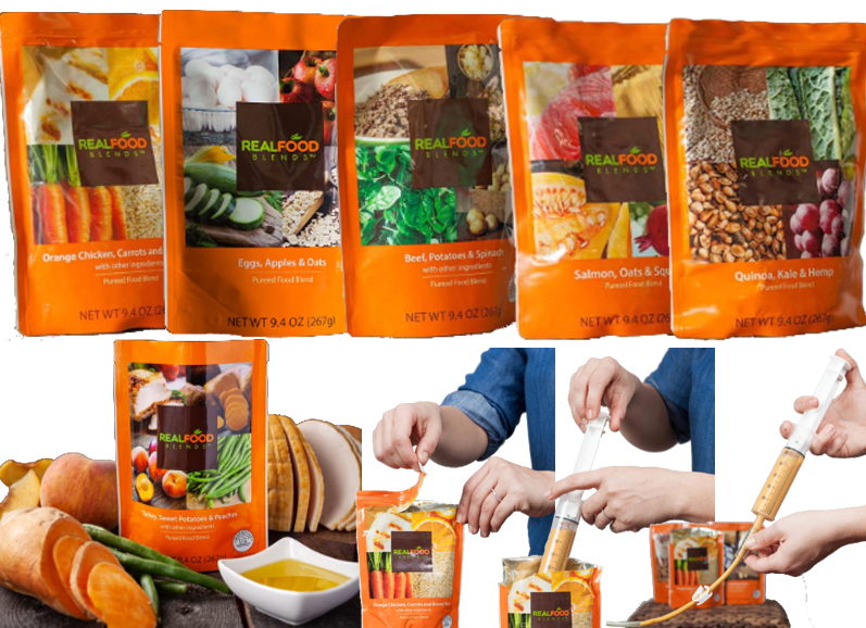 A row of 5 colorful plastic pouches, each containing a different blended meal. Each pack shows images of the ingredients in each meal. Below, one pouch sits on a countertop surrounded by the whole meal ingredients.  At the bottom right 3 photos show the seps or usage- opening a pouch, loading a feeding syringe, and loading the contents into a feeding tube.
