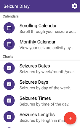 """Screenshot of Simple Seizure Diary, a white screen with purple header.  The screen is split vertically into 2 sections, """"Calendars"""" and """"Charts.""""  Under Calendars are two options for, """"Scrolling Calendar,"""" and """"Monthly Calendar.""""  Under Charts are options for """"Seizures Dates,"""" """"Seizures Days,"""" """"Seizures Times,"""" and """"Seizures Lengths."""""""