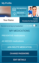 "Screenshot of Migraine Monitor App, a blue screen with darker blue header that reads, ""My Profile.""  There's a section with a space for your photo on the left, and a stock photo of a doctor on the right.  Between the 2 is a note for your Next Appointment and date of birth.  A bar below the photos includes your name, and your provider.  The bottom part of the screen has several options to add data.  There's a slider to ""Remind me to log my headaches 11:14am"", Below is a listing of ""My Medications"" split into preventative and as needed meds.  There are 3 buttons to the bottom for ""Add/Delete Medication,"" ""Change Password"" and ""Edit Details."""