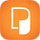 Perspective Logo, a white curling page on an orange square background