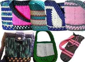 5 different crocheted bags in varying colors- designed to carry O2 Concentrators, A crocheted backpack for the same purpose, and a longer thinner crocheted bag to carry an Oxygen canister