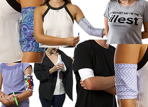 """Several bodies and arms modeling what appear to be short sleeves- meant to cover picc lines.  They appear in different patterns.  A person with their ar extended and the sleev inside out showing access to the picc line, a tee shirt reading """"Doctors say I'm the Illest"""", and A person in a white shrirt with a black wrap around jacket, open to show a large item being stored in an iterior pocket."""