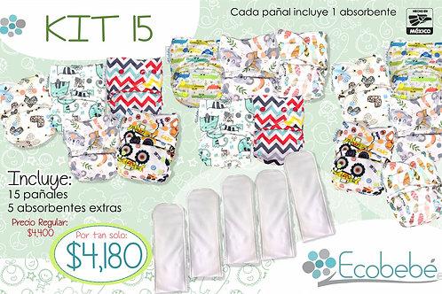Kit 15 pañales