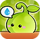 Plant Nanny Logo, a small green cartoon plant with bushing cheeks in a terracotta pot on green background
