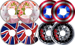 4 sets of wheelchair spoke guards decorated with different vinyl stickers.  The top sets feature a white rabbit rabbit and the captain america shield respectively.  The bottom sets feature the British flag, and racing wheel hubcaps.